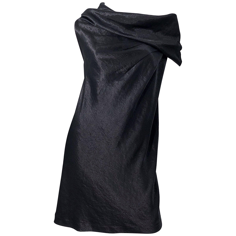 NWT 1990s Donna Karan Size 8 Black Metallic Rayon Off - Shoulder Vintage Dress
