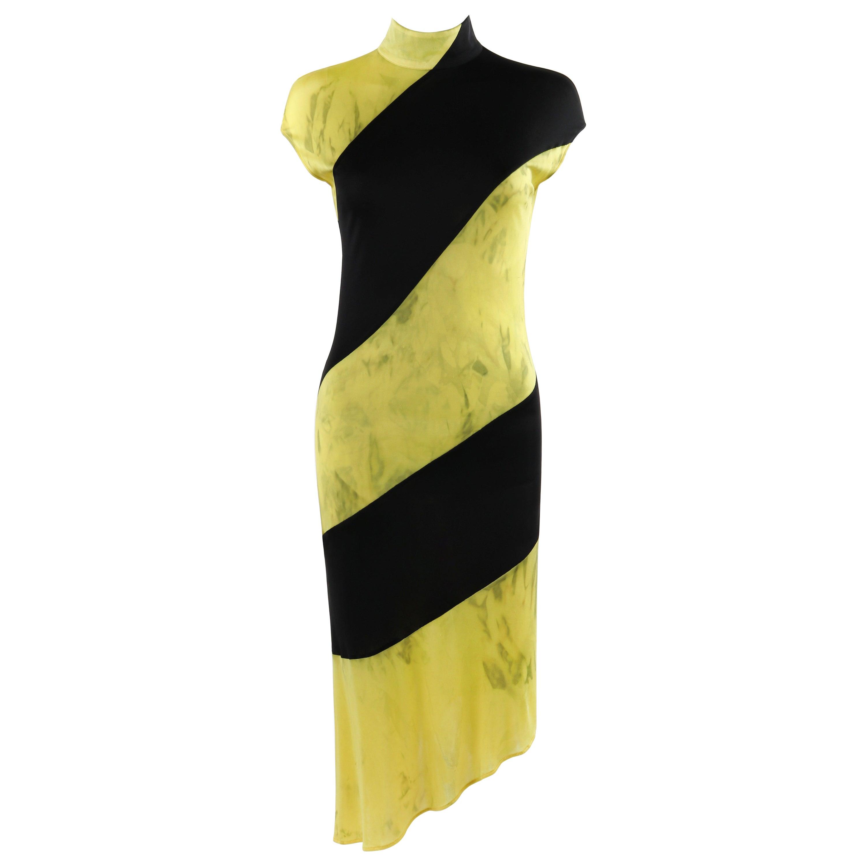 """ALEXANDER McQUEEN S/S 1998 """"Golden Shower"""" Striped Asymmetric Sheath Dress"""