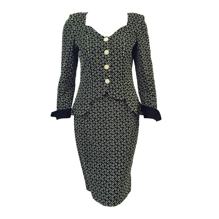 Emanuel Ungaro Parallele Black and White Diamond Eyelet Skirt Suit For Sale