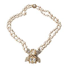 Miriam Haskell Double Strand Elaborate Pearl Necklace