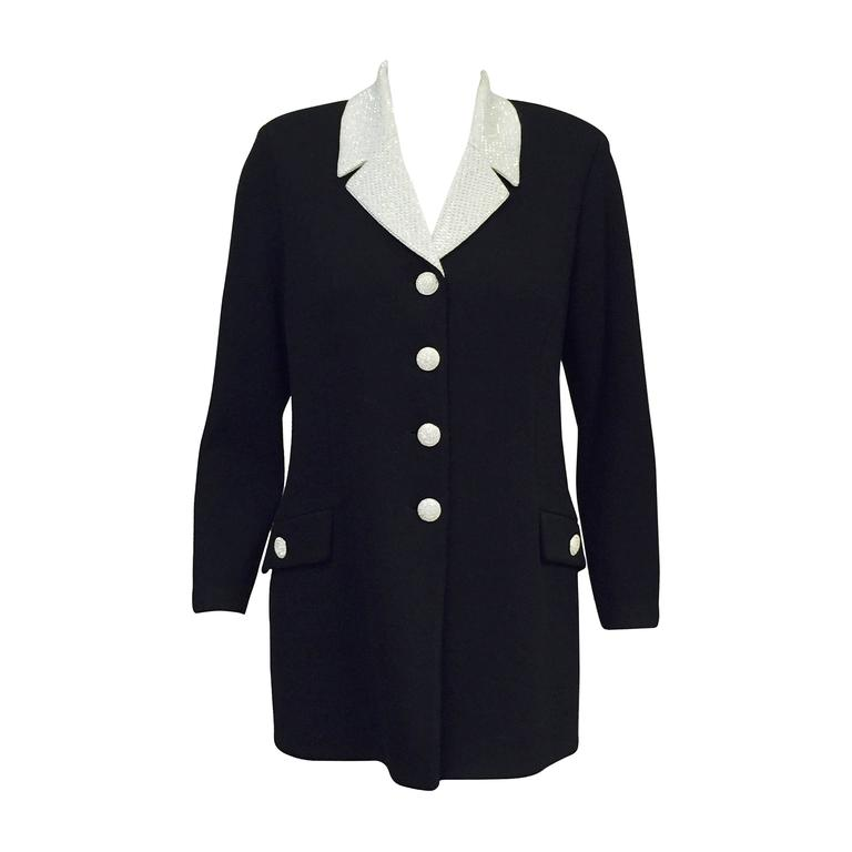 bb4cc2880 St. John Evening Black Jacket With Crystal Buttons and Studded Collar For  Sale