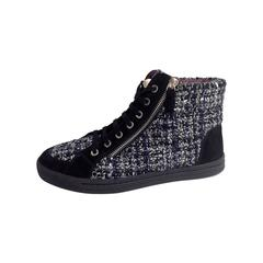 Chanel Lace Up Tweed CC Logo Pearl High Top Sneakers