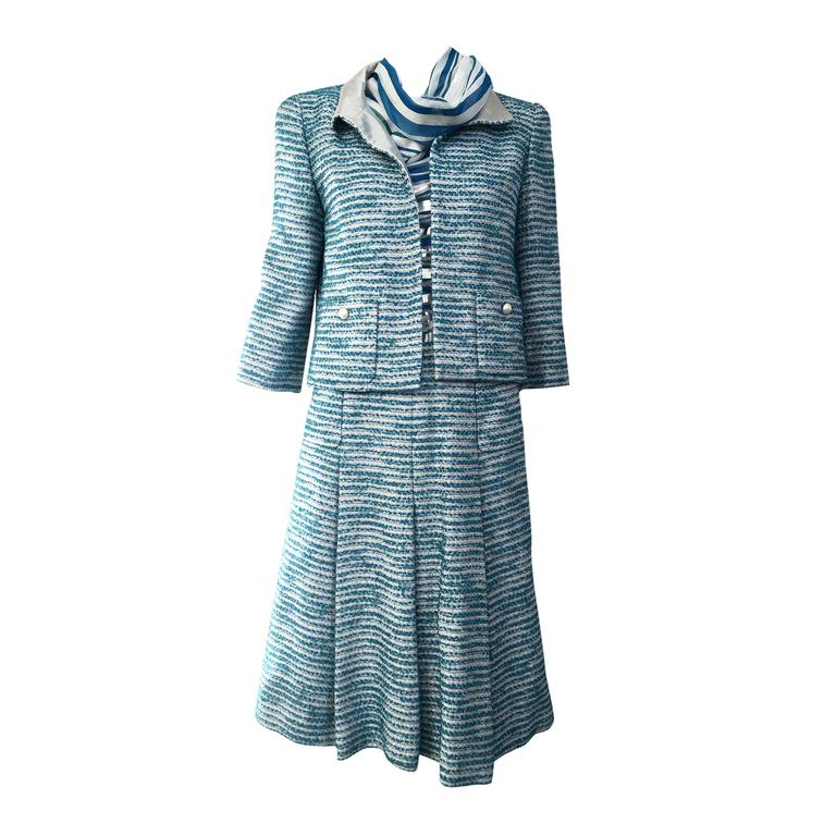 Chanel blue boucle suit and skirt set (3pcs)