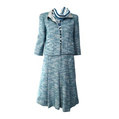 Chanel Blue Boucle  Suit and Skirt Set ( 3 pcs)
