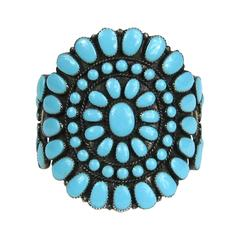 Turquoise Zuni Petit Point Cluster Cuff Bracelet from the 1960's