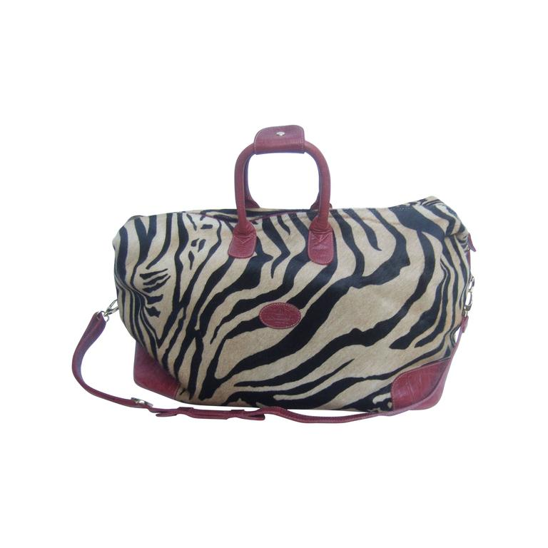 Exotic Zebra Pony Hair Travel Bag by Tangarora Made in Italy