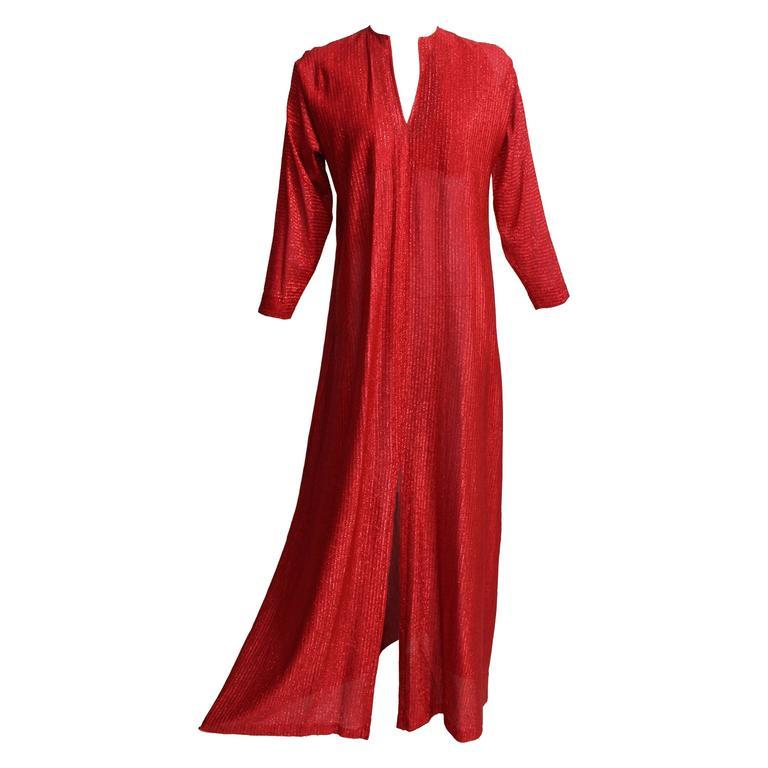 1980s Halston Metallic Red Caftan Dress