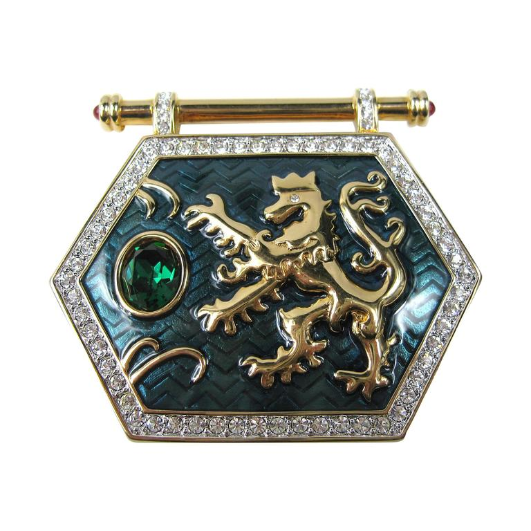 "1980's Swarovski ""Jeweler's Collection"" Crystal Enamel Shield Griffin Brooch 1"