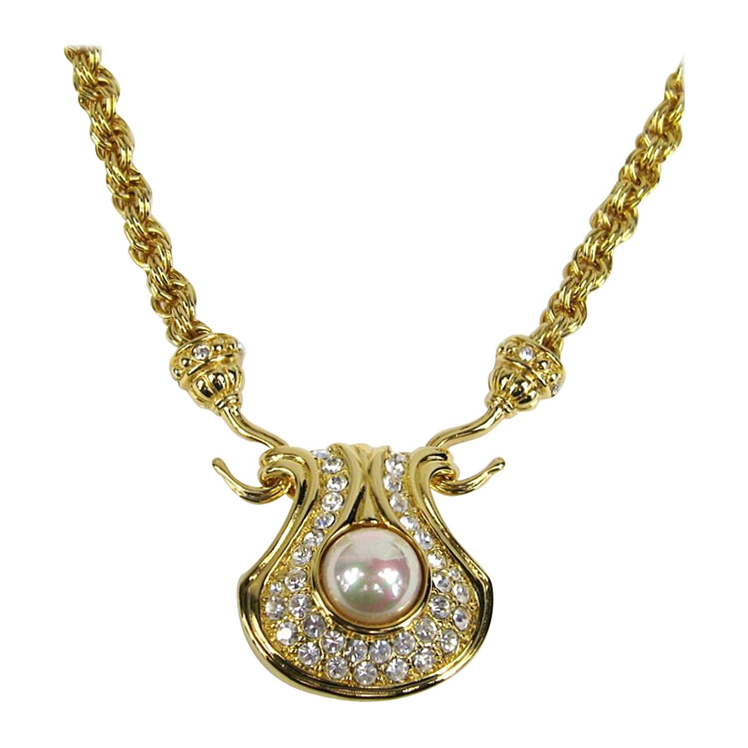 nolan miller pave rhinestone pearl necklace 1990s new