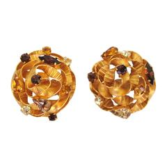 Massive Dominique Aurientis Crystal  Earrings New Old stock 1980s