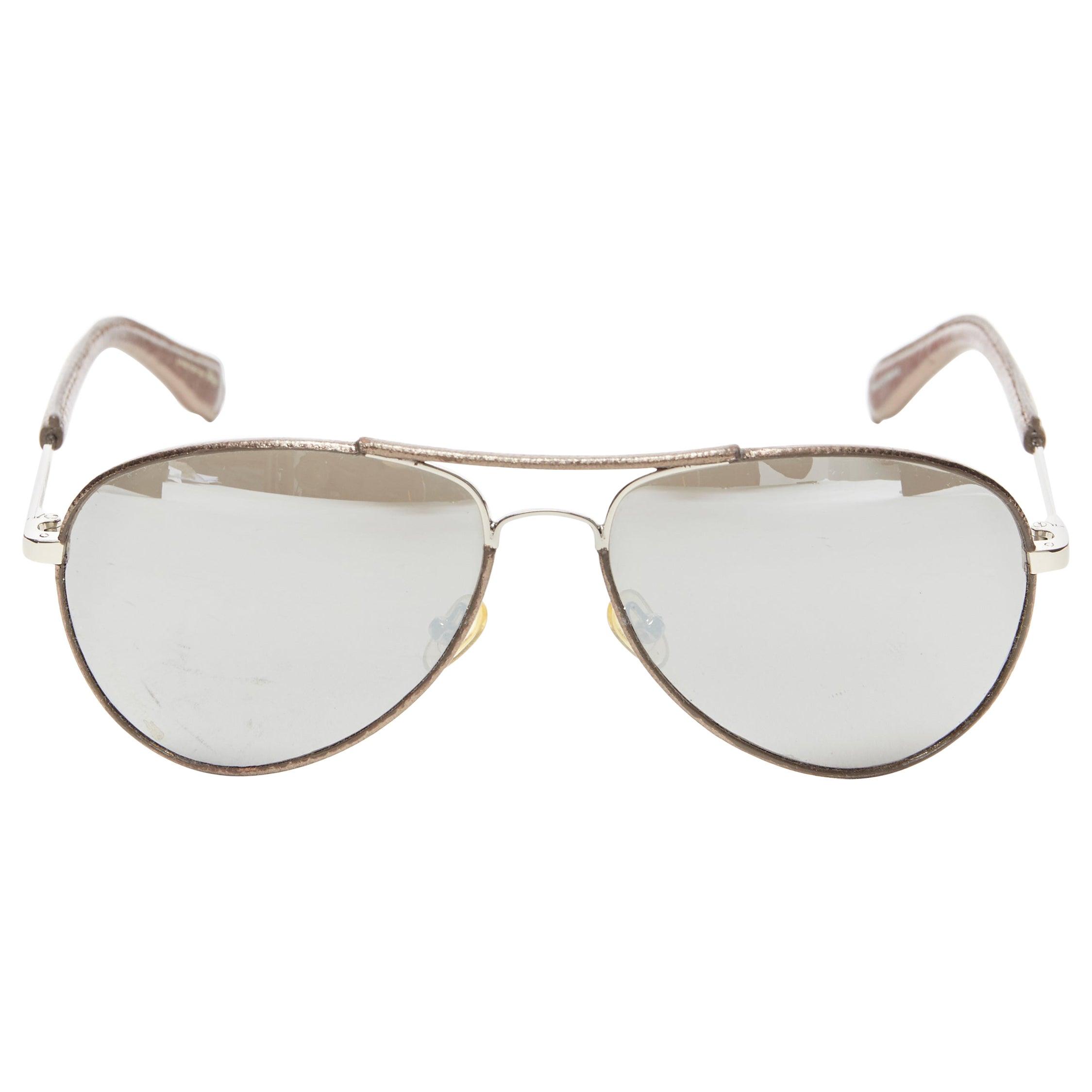 VERONIQUE BRANQUIHO LINDA FARROW copper leather mirrored aviator sunglasses