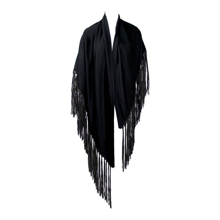 Hermes attributed Black  Cashmere & Leather Fringe Shawl 1