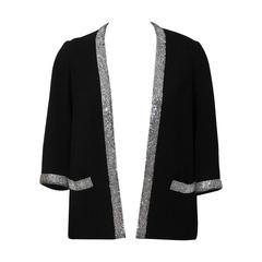 1960's Norman Norell Black Wool Jacket with Rhinestone Trim