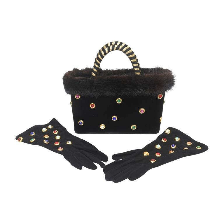 Givenchy Black Suede Gloves and Black Velvet Stone and Fur Evening Bag