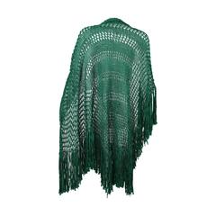 Emerald Green Crochet Fringe Shawl, 1930s