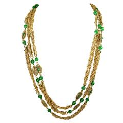 Vintage Chanel Green Gripoix Sautoir Necklace