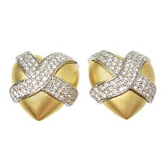 Vintage Signed Givenchy Heart Rhinestone Earrings