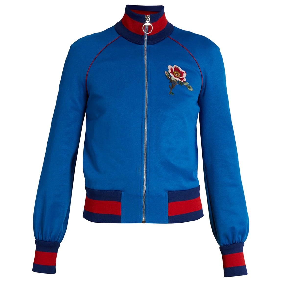 Gucci Appliquéd Satin-Jersey Bomber Jacket