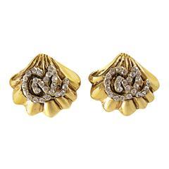 Vintage Signed Christian LaCroix Rhinestone Shell Design Earrings