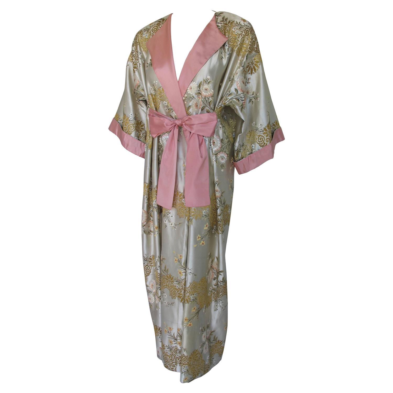 Madame gres haute couture silk satin embroidered kimono
