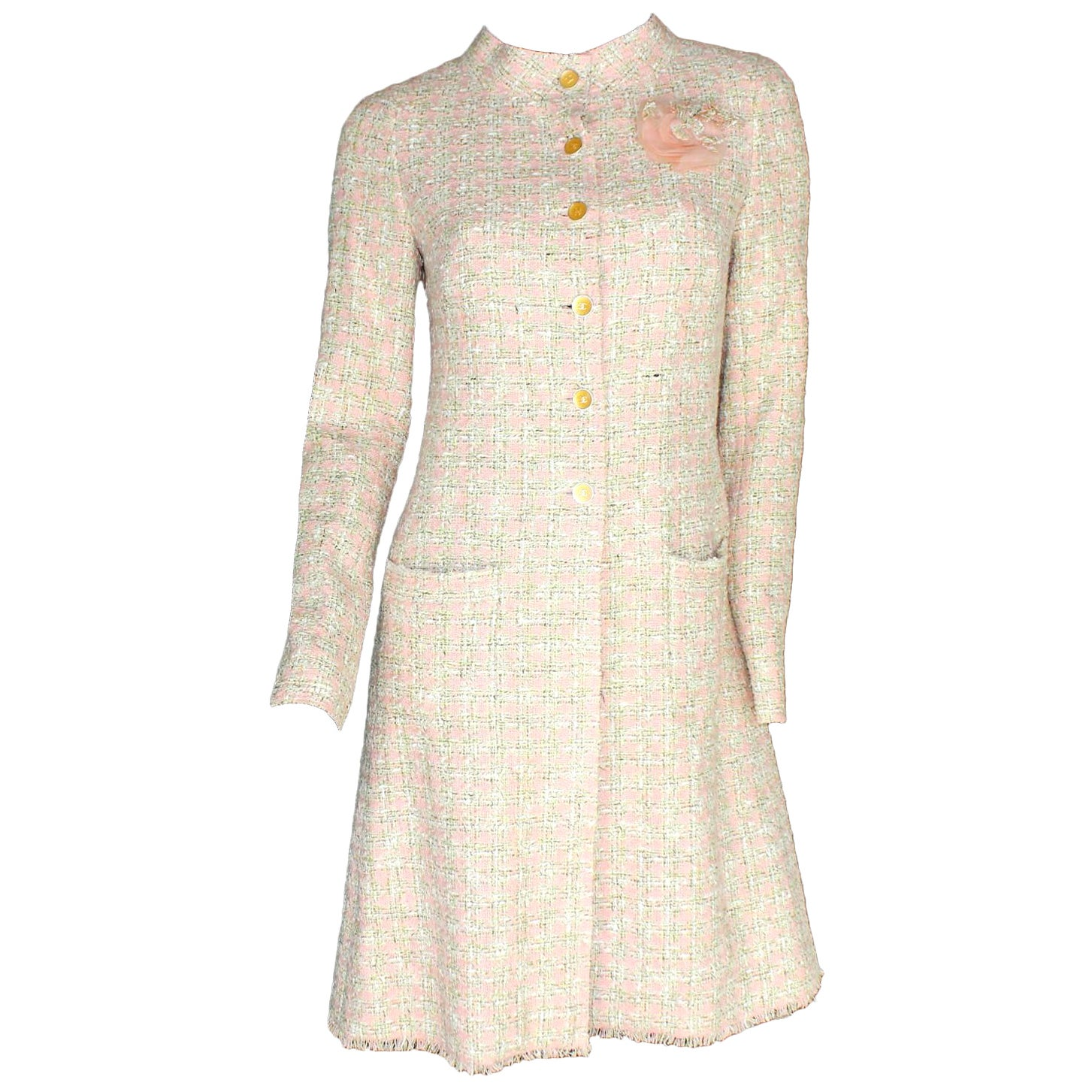 Timeless CHANEL Fringed Fantasy Lesage Tweed Coat with Camellia Brooch
