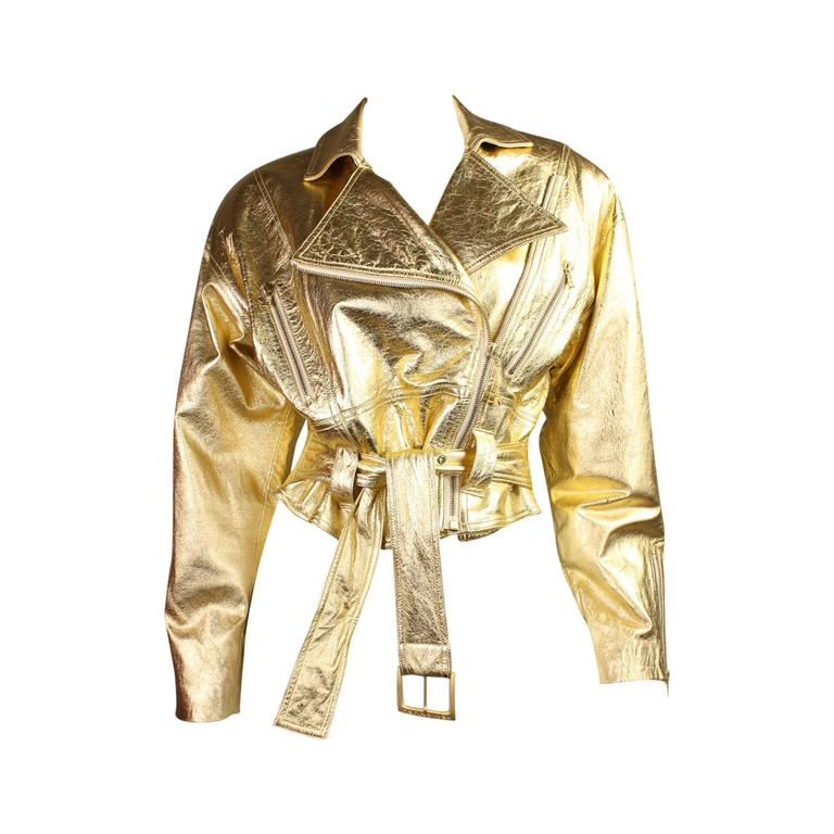 1990's Emanuel Ungaro Metallic Leather Bomber Jacket 1