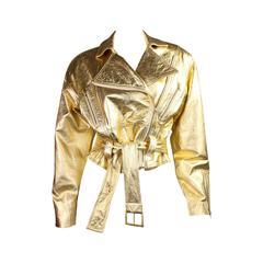 1990's Emanuel Ungaro Metallic Leather Bomber Jacket