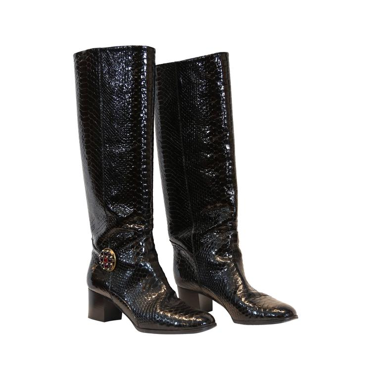 Chanel Black Python Embossed Patent Leather Boots For Sale