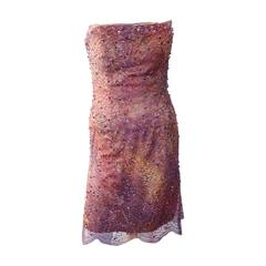 BARACCI Couture Lace Swarovski and Natural Crystals Beaded Dress Size S