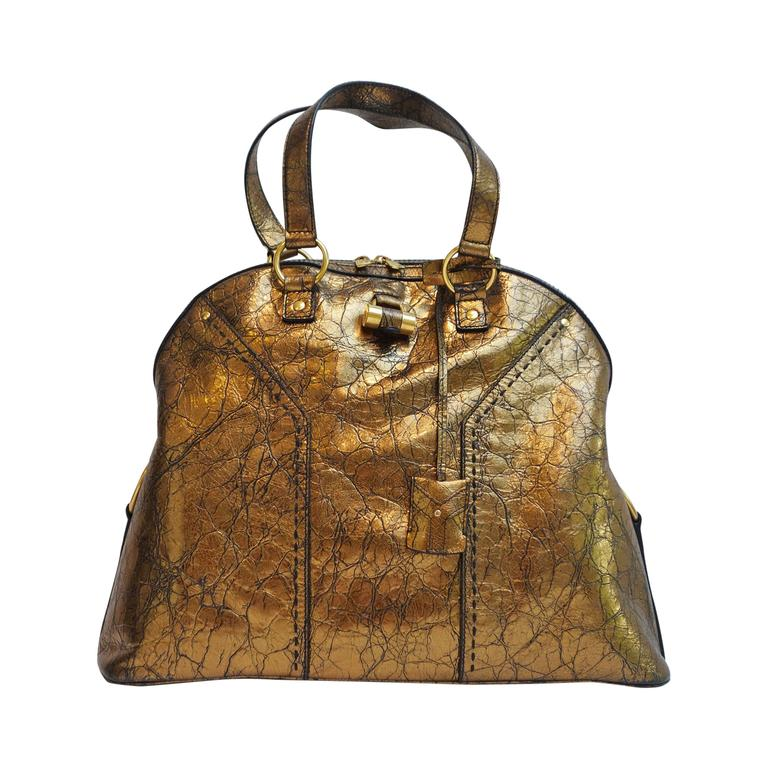 2a5db00f3946 Yves Saint Laurent Bronze Distressed Leather Large Muse Bag Purse at 1stdibs