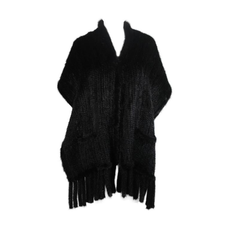 Dark Brown Ranch Mink Stole with Fringe and Pockets