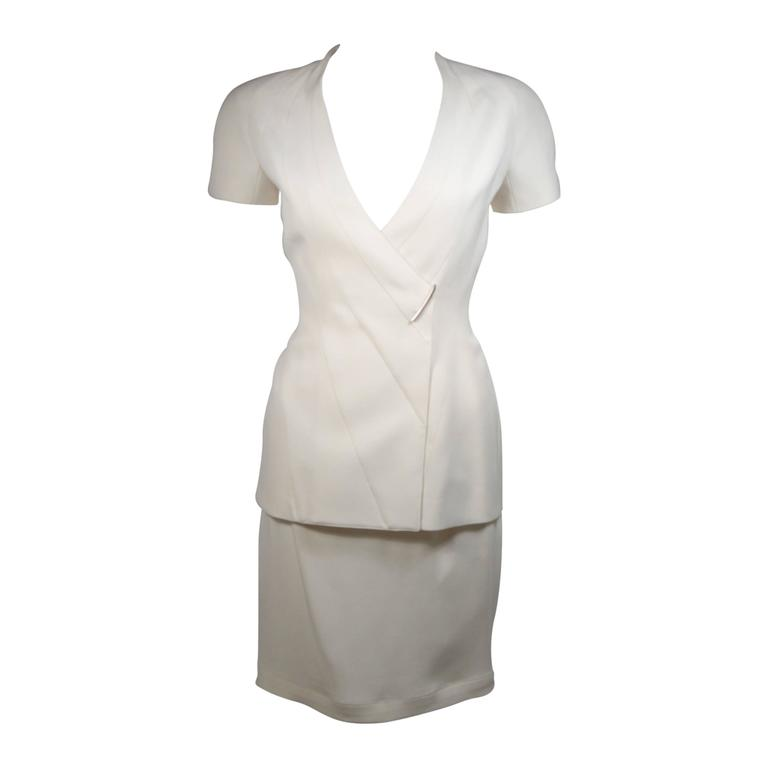 Theirry Mugler Couture Ivory Skirt Suit Size 38 36