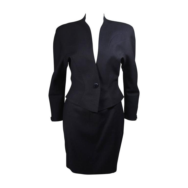 Thierry Mugler Navy Skirt Suit with Dolman Style Sleeves Size 38