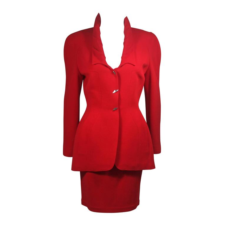 Thierry Mugler Contoured Red Skirt Suit Size Size 40
