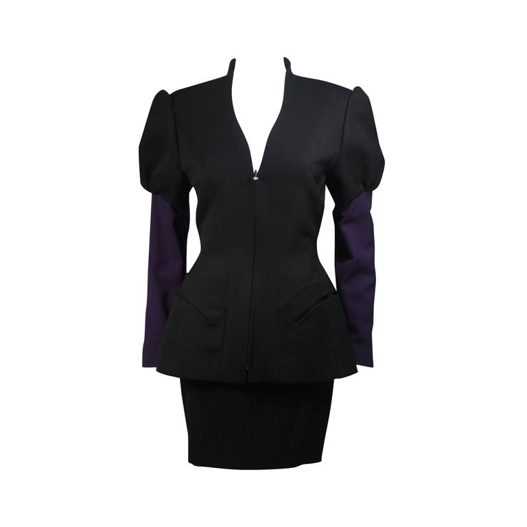 Thierry Mugler Black and Purple Skirt Suit Size Small