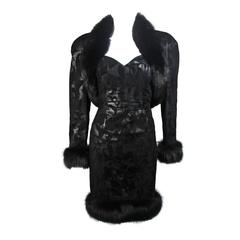 Michael Hoban Black Suede and Fur Cocktail Set Size Small Medium