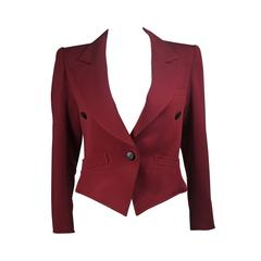 Yves Saint Laurent Rive Gauche Burgundy Jacket Size Small Medium