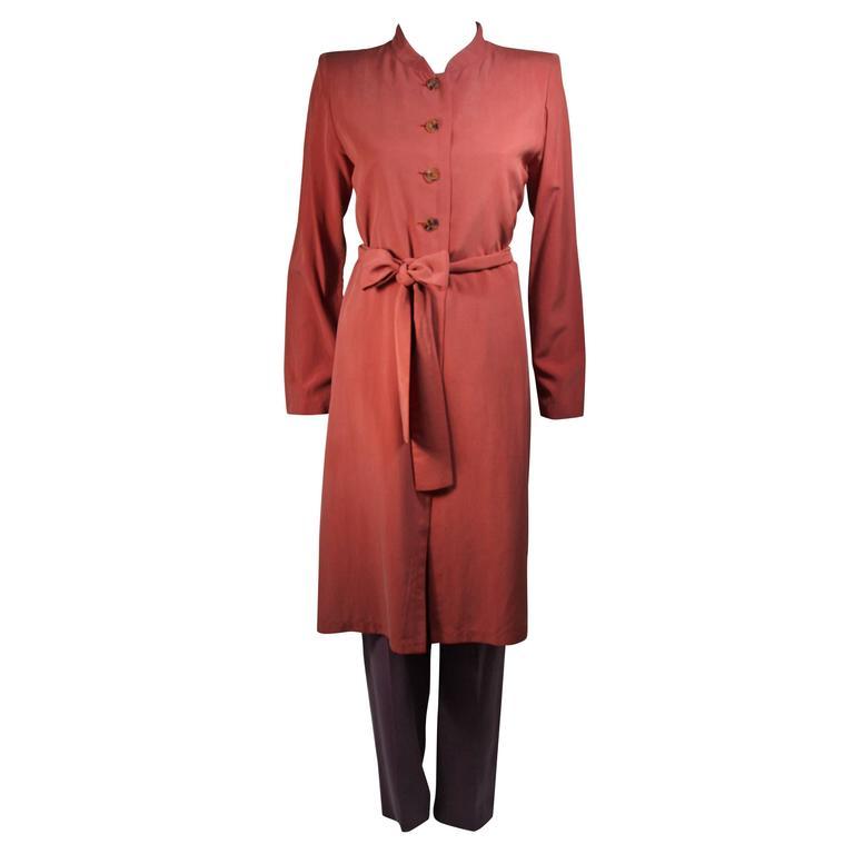 Yves Saint Laurent Rive Gauche Mauve Silk Three Piece Pant Suit Size 38