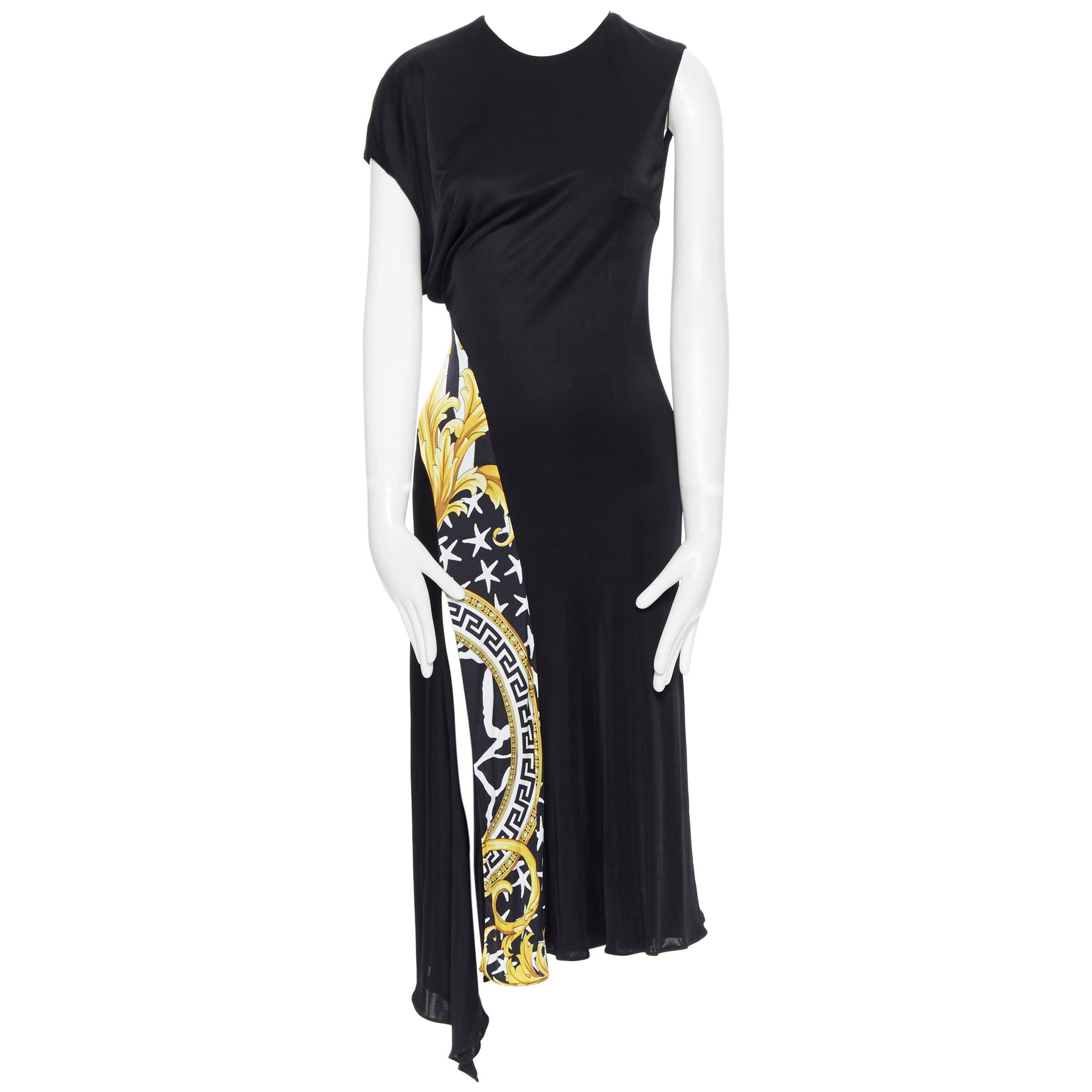VERSACE AW19 black viscose gold baroque greca paneled draped hem dress IT40 S