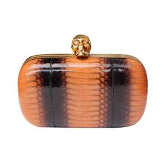 Alexander Mcqueen Skull Clutch with Orange and Brown Patent Snakeskin