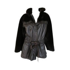Christian Dior Belted Brown Leather and FurJacket