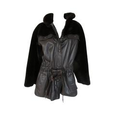 Christian Dior belted brown leather and fur jacket