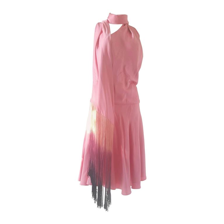 1990s Alexander McQueen pink dress with fringes