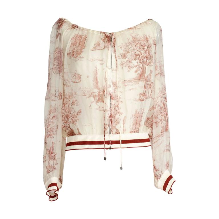 Hermes Vintage Sheer Silk Idyllic Print Mini Lock Hardware Top / Jacket