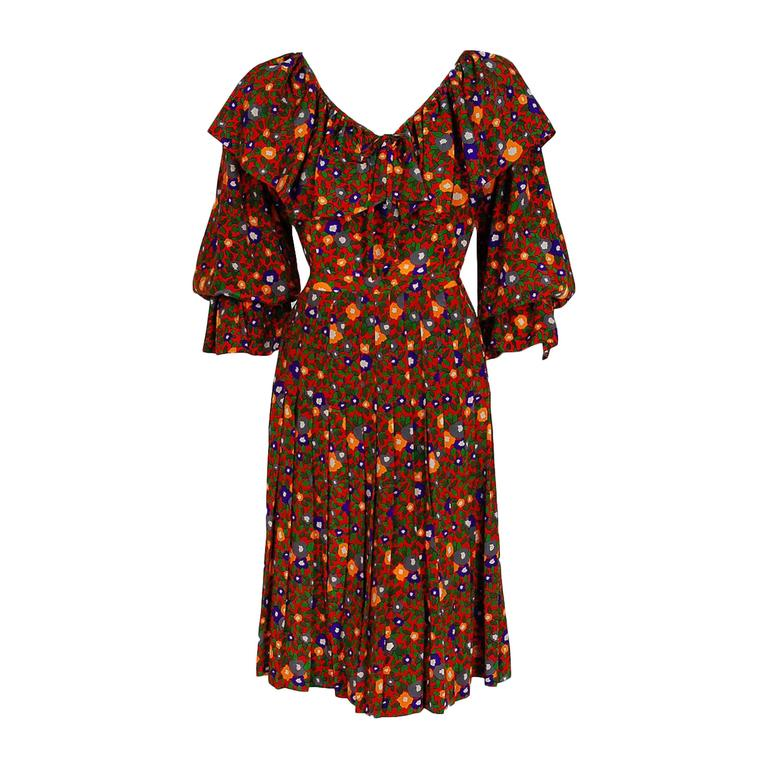 1970's Yves Saint Laurent Colorful Floral Print Silk Peasant Blouse & Skirt Set For Sale