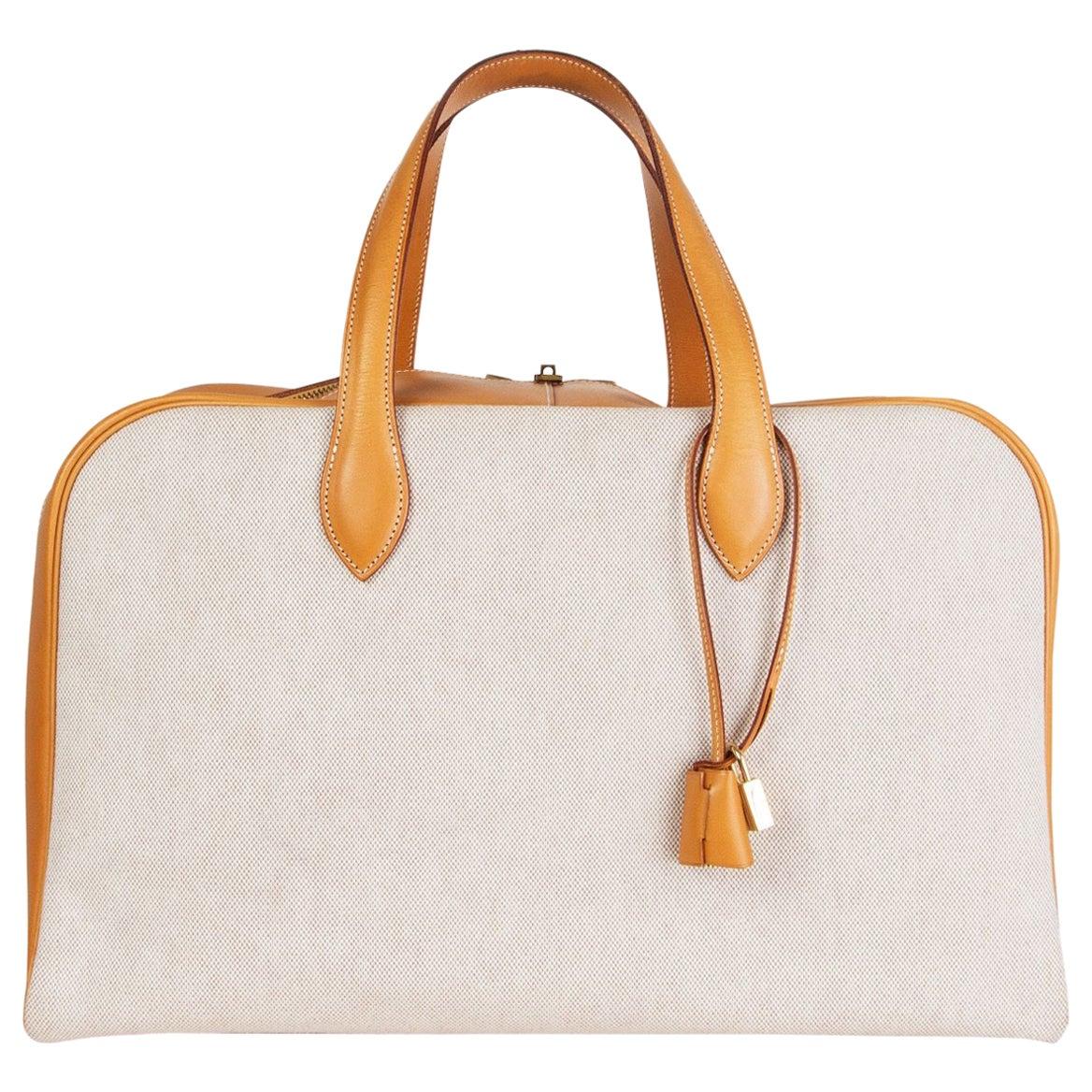 HERMES beige Vache Natural & Toile H VICTORIA 45 Weekend Bag