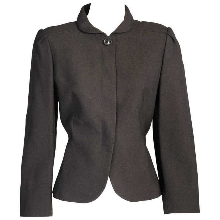 Pierre Cardin Black Wool Crepe Jacket