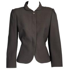 Pierre Cardin Black Wool Crepe Jacket