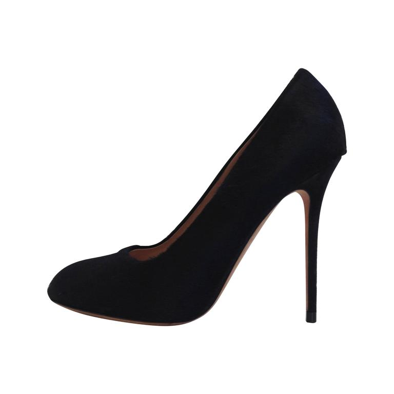 Celine Black Ponyhair Heels Size 37 (6.5) For Sale