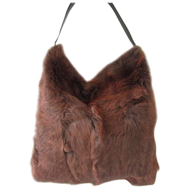 DOLCE & GABBANA Brown Fur Tote Bag Handbag HOBO Purse New Never used